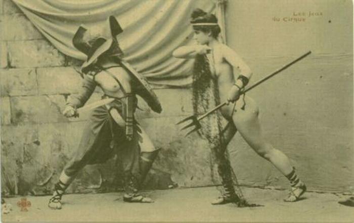 Фотореконструкция женского боя, снимок сделан в начале 20 века