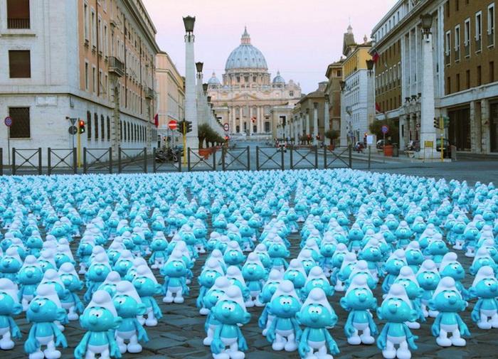 Всемирный день смурфиков в Риме