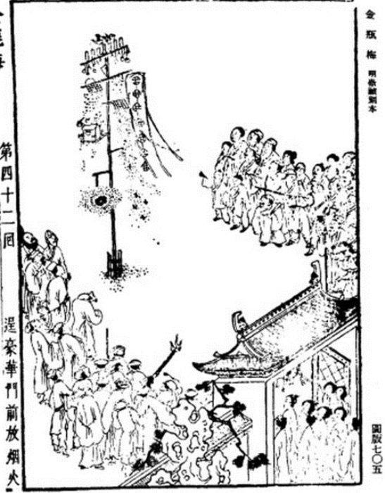 Китайский фейерверк, иллюстрация из сборника, изданного в 1628-1643 гг.