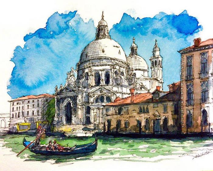 Акварели, вдохновленные путешествиями. Венеция, Италия