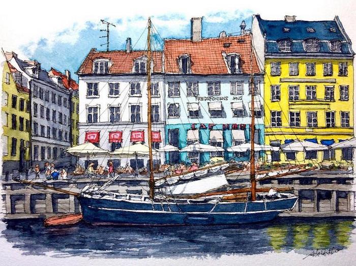 Набережная в Копенгагене, Дания