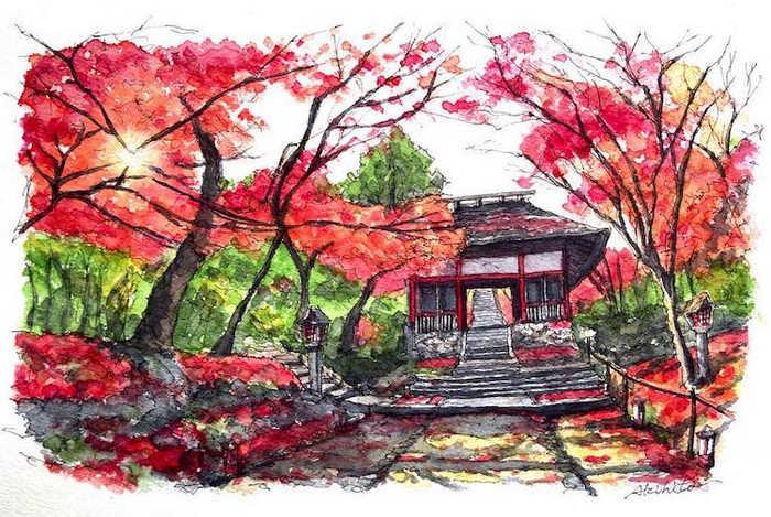 Пейзаж с сакурой. Киото, Япония