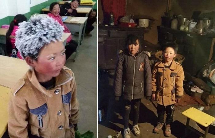 Замерзший школьник из Китая: мальчик пришел в школу, чтобы сдать экзамен, преодолев пять километров по холоду.
