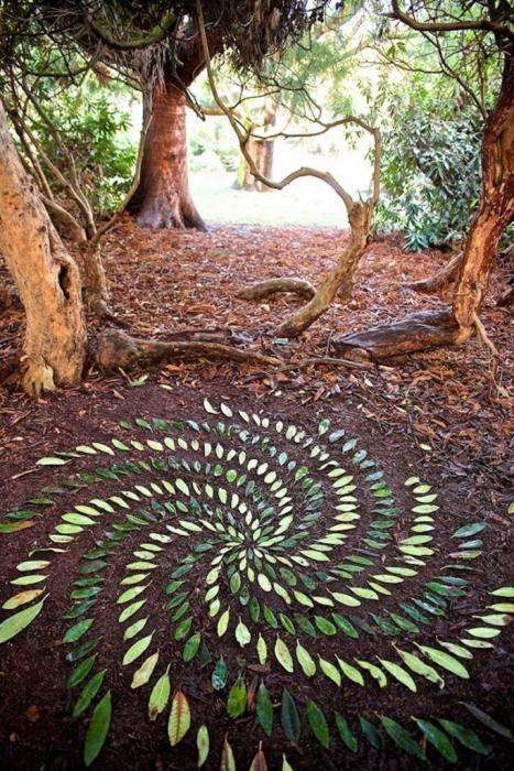 Ленд-арт из опавших листьев в лесу.