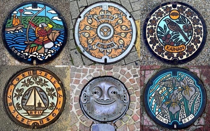 Необычное искусство в Японии: узоры на канализационных люках