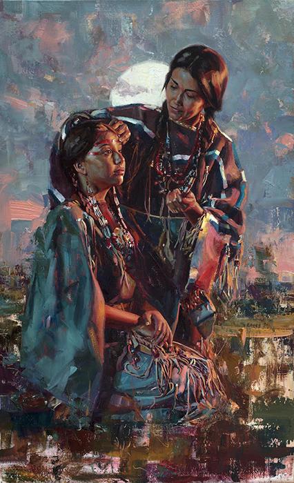 Особое внимание художник уделяет аутентичной одежде.