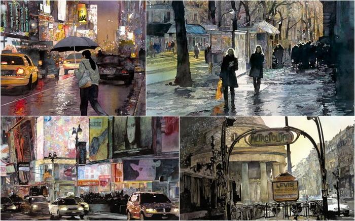 Городские пейзажи акварелиста Джона Салминена (John Salminen)
