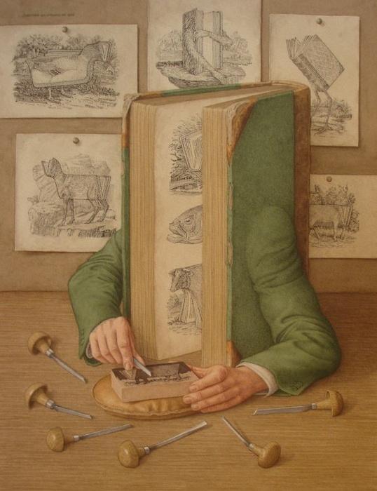 Ожившие книги на картинах Джонатана Уолстенхолма