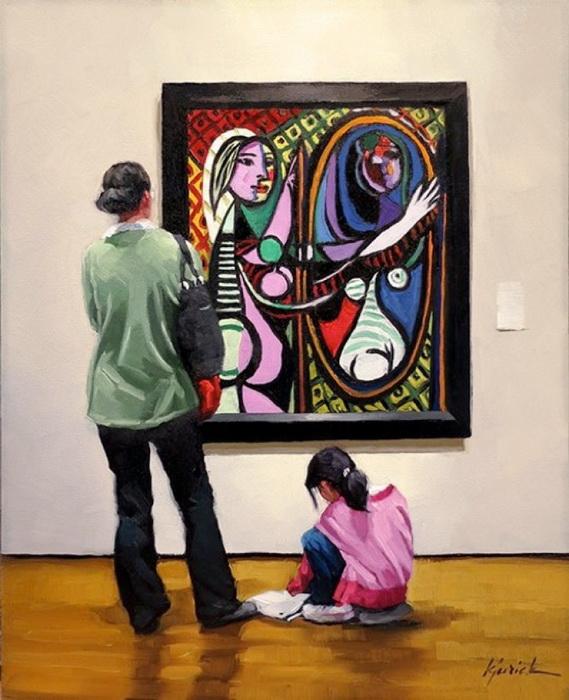 Девушка перед зеркалом. Автор: Пабло Пикассо