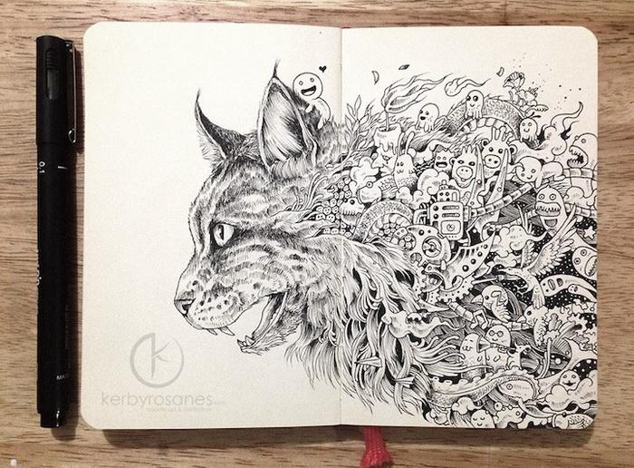 Рисунки, нарисованные сотнями других рисунков. Работы Керби Розанеса (Kerby Rosanes)