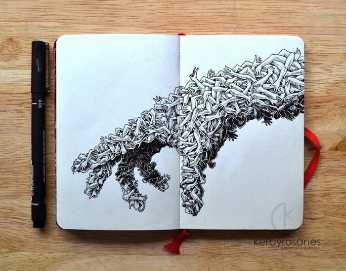 Рисунки в молескине от Керби Розанеса (Kerby Rosanes)