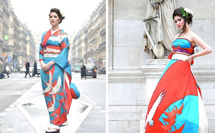 Традиционное кимоно и современное свадебное платье