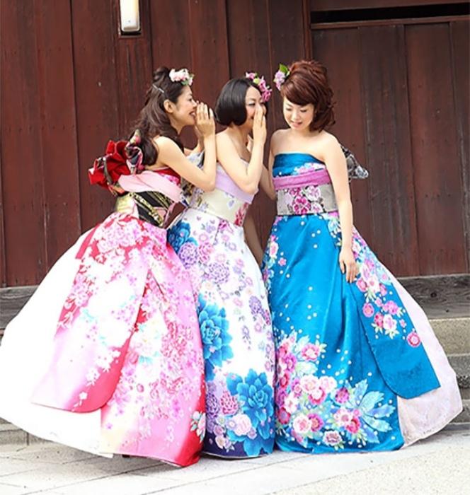 Свадебное платье-трансформер из традиционного кимоно