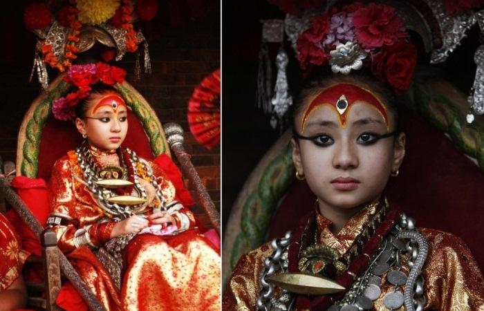 Кумари - земные богини в Непале.