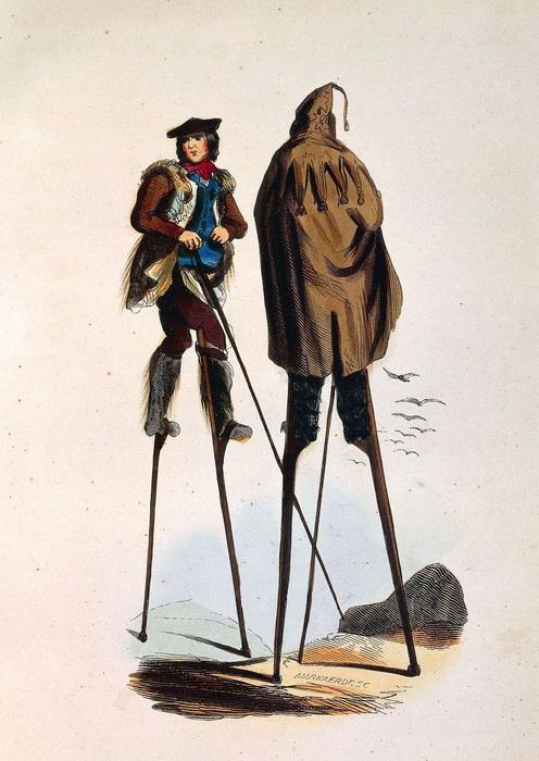 Открытка с изображением артистов на ходулях.