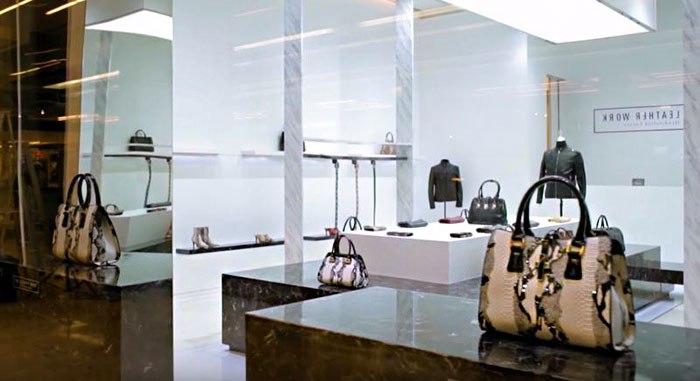 Эксклюзивные кожаные изделия в торговом центре