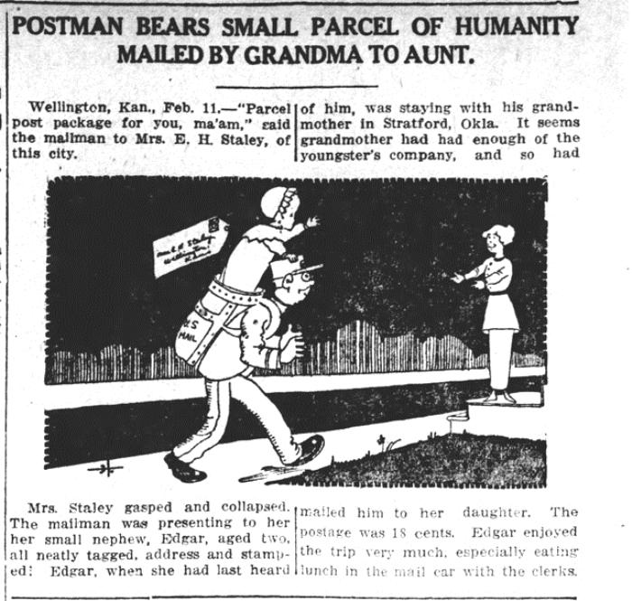 Заметка в газете о пересылке ребенка из Оклахомы в Канзас.