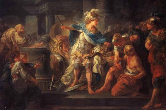 Александр перерубает гордиев узел.(Жан-Симон Бертелеми, конец XVIII—начало XIX вв.)