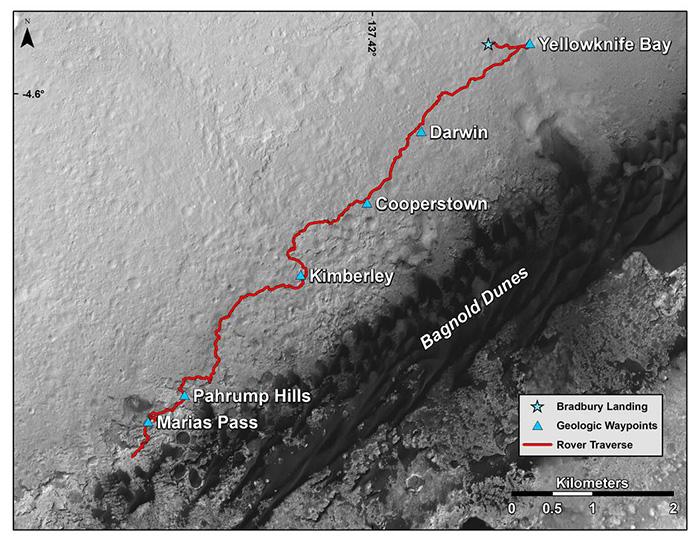 Путь, проделанный марсоходом с августа 2012 года по середину ноября 2015 года