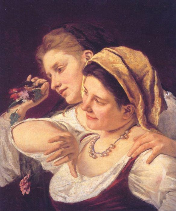 *Две женщины бросают цветы*. Работа Мэри Кэссетт. 1872 г.