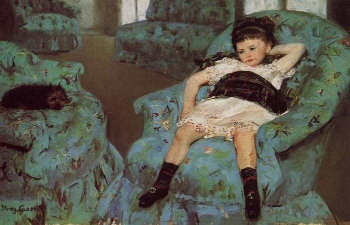 *Маленькая девочка в голубом кресле*. Работа Мэри Кэссетт. 1878 г.