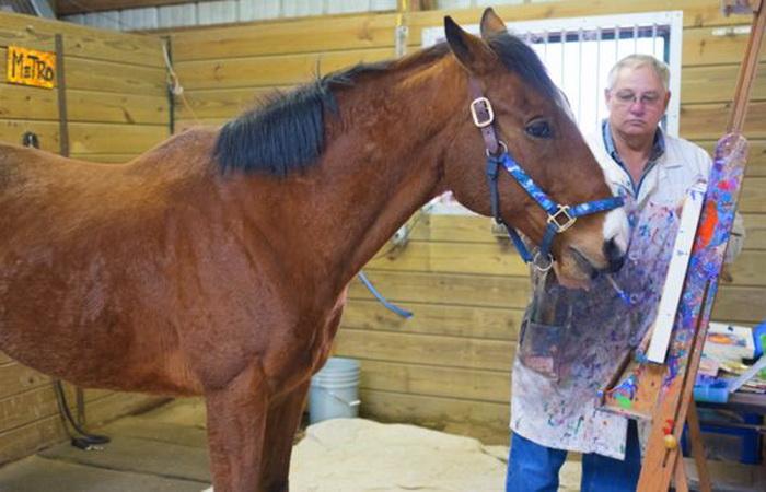 Конь Метро рисует картины под руководством своего хозяина Рона.