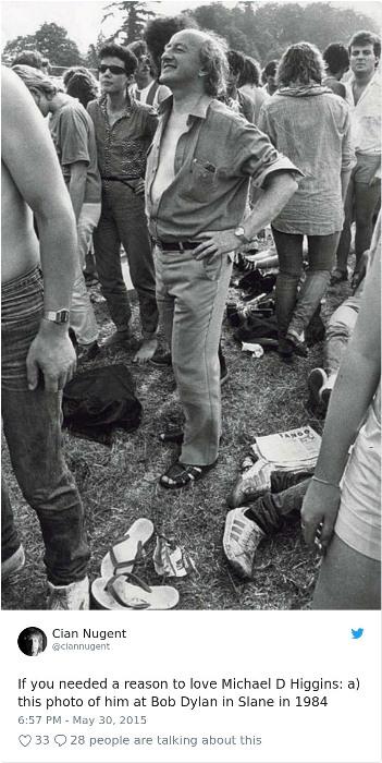 Майкл Хиггинс на концерте Боба Дилана, 1984 г.