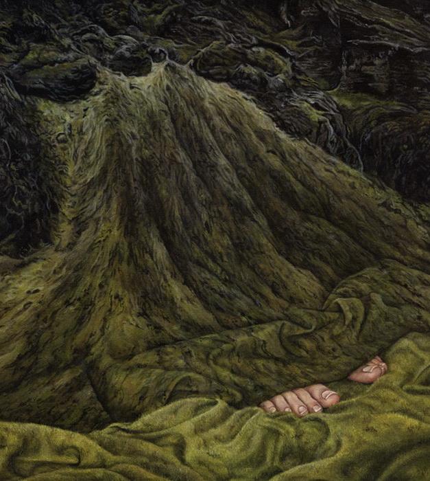 На картинах Moki Mioke человеческие тела и скандинавские пейзажи сливаются воедино