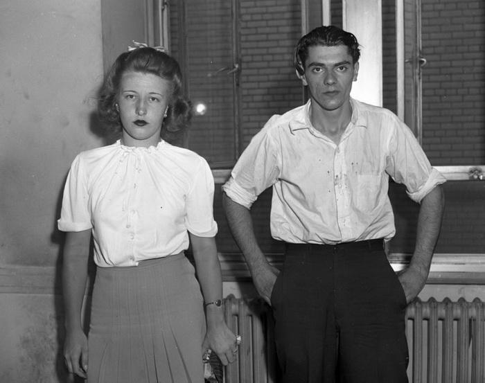 19-летняя Вирджиния Орнамрк и 24-летний Фред Шмидт, обвиняются в убийстве, 1944 год