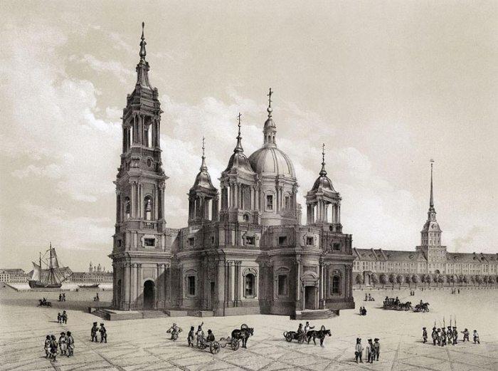 Проект Исаакиевской церкви ахритектора А.Ринальди. Литография с рисунка О.Монферрана. 1845 г. Фото: hellopiter.ru