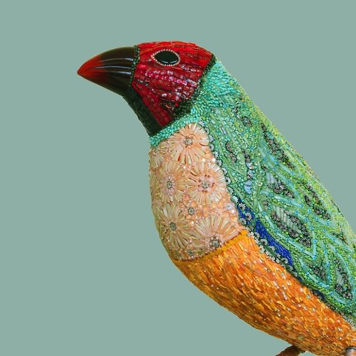 Мозаичные скульптуры птиц из муранского стекла