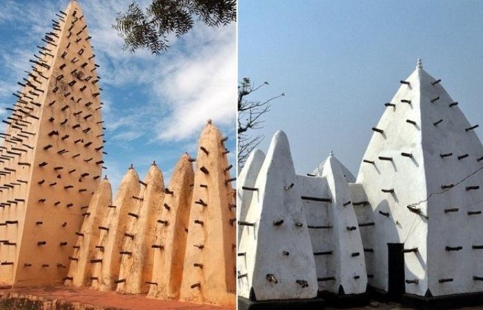 Уникальные мечети Западной Африки, построенные из глины и деревянных балок.