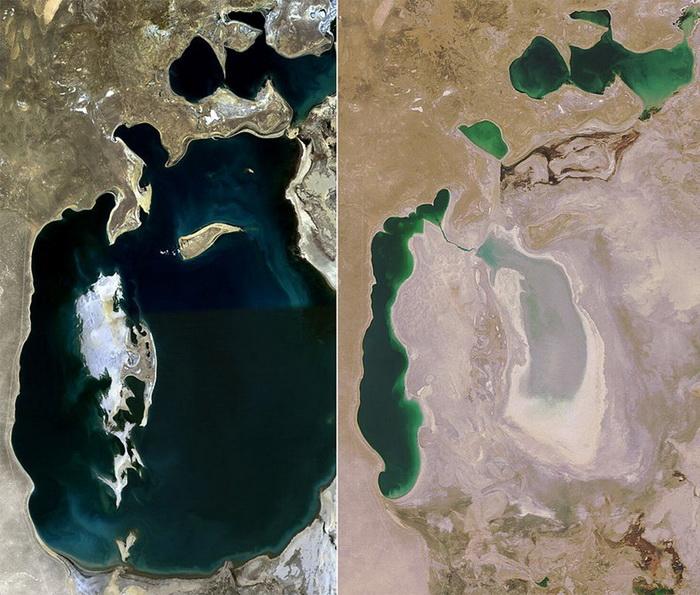 Вид Аральского моря: 1989 г. и 2008 г.