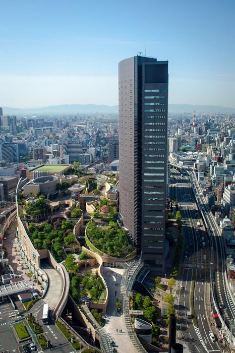 Террасный парк на крыше торгового комплекса Намба (Осака, Япония)