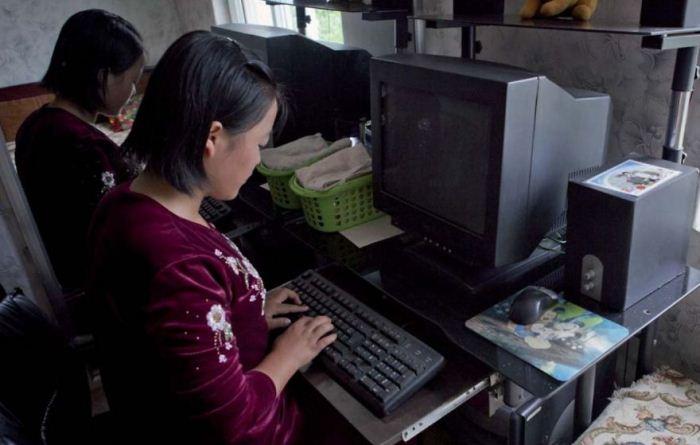 Девочка за компьютером.