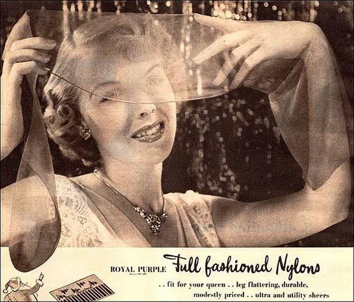 Реклама первых нейлоновых колгот