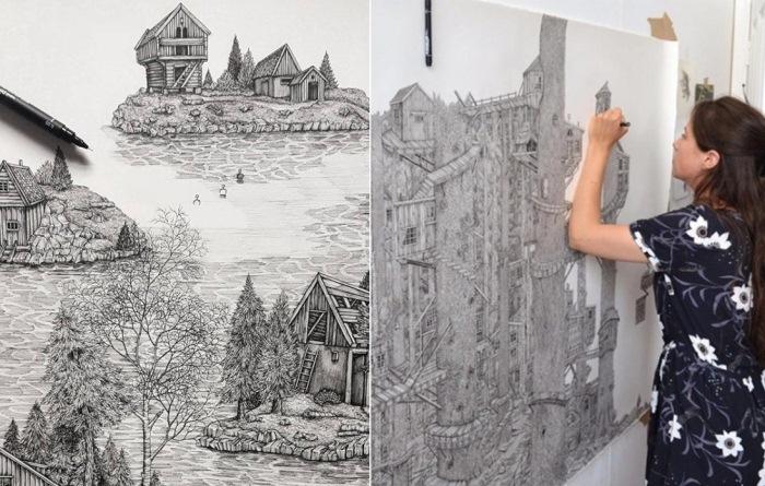 Оливия Кемп - современная художница, которая рисует чернильной ручкой детализированные пейзажи.