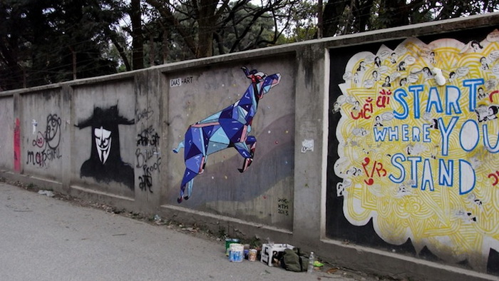 Стрит-арт на улицах Катманду