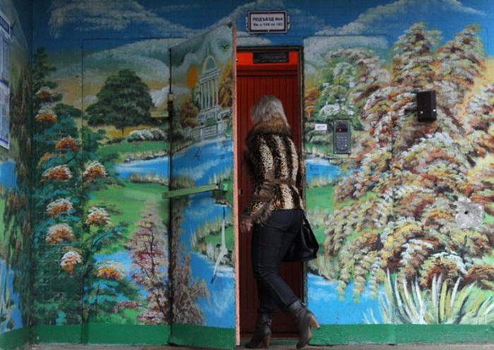 Не подъезд, а картинная галерея. Необычные рисунки Дмитрия Бочкарева