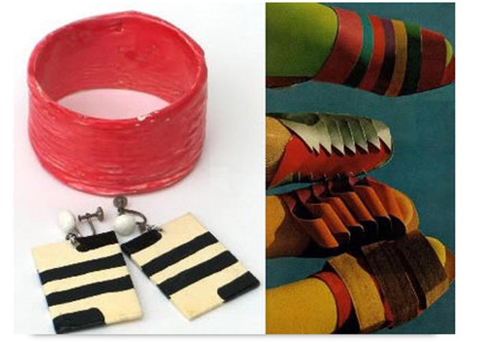 Обувь из картона и серьги из папье-маше
