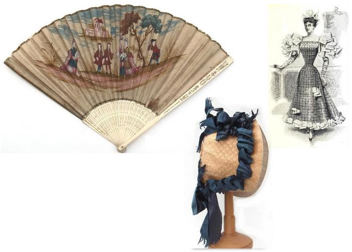 Веер, шляпка и платье из гофрированной бумаги
