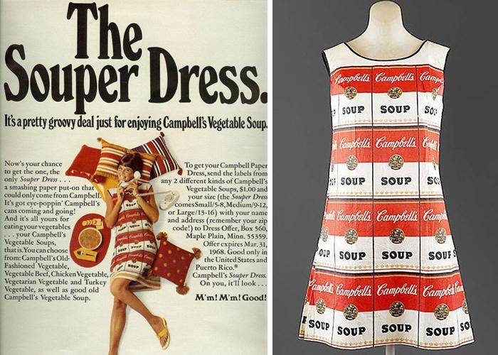 Бумажное платье для рекламы супа Campbell's Soup