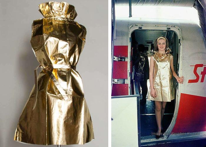 Униформа стюардесс: платья из золотой фольги