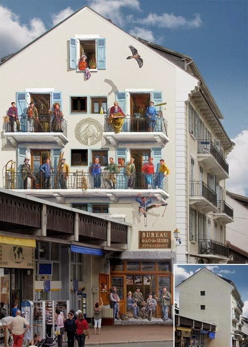 20 первых французских альпинистов. Фасад дома с видом на Монблан
