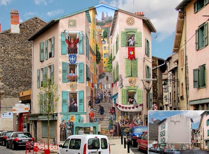 Роспись фасада в городе Le Puy-en-Velay