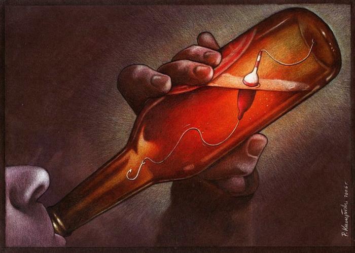 Тема алкоголизма на карикатурах Павла Кучински