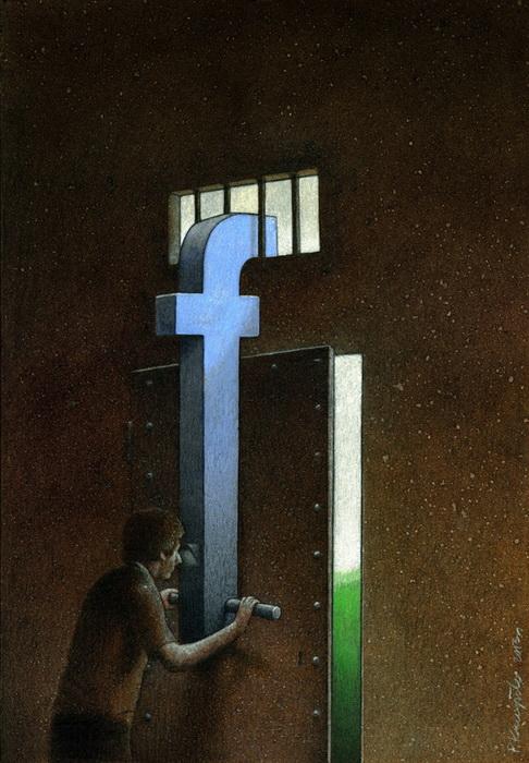 Популярная социальная сеть Facebook. Иллюстрация Павла Кучински