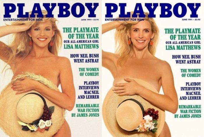 Журнал Playboy переснял обложки старых номеров с участием тех же моделей. Выпуск 1991 года.