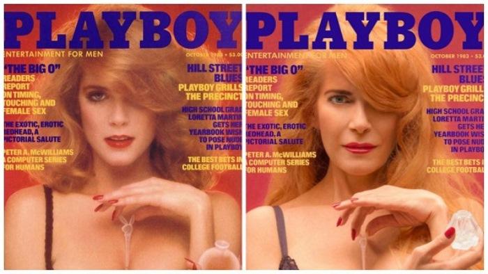 Немолодые модели позируют для обложек Playboy годы спустя. Номер 1983 года.