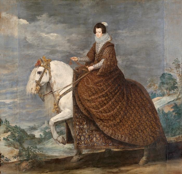 Королева Изабелла Бурбон на коне. Художник - Диего Веласкес, 1634 г.